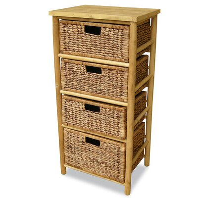 4 Drawer Open Side Cabinet Finish: Natural