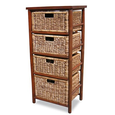 4 Drawer Open Side Cabinet Finish: Brown