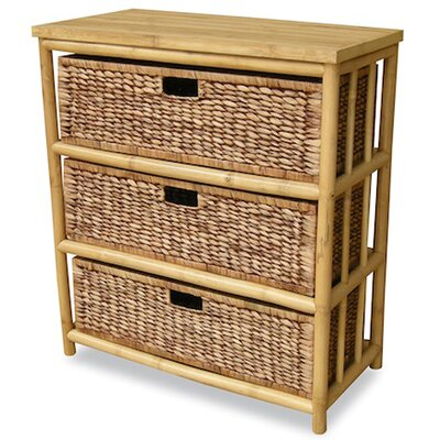 3 Drawer Open Side Cabinet Finish: Natural