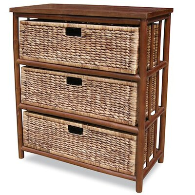 3 Drawer Open Side Cabinet Finish: Brown
