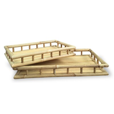 2 Piece Bamboo Tray Set