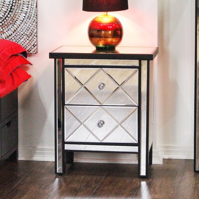 2 Drawer Nightstand Color: Black