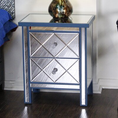 2 Drawer Nightstand Color: Blue