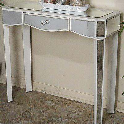 Elizabeth Mirrored Console Table Finish: Antique White