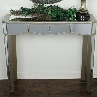 Elizabeth Mirrored Console Table Finish: Champagne