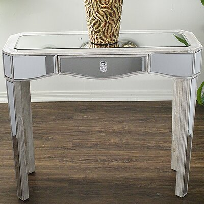Elizabeth Mirrored Console Table Finish: White Wash