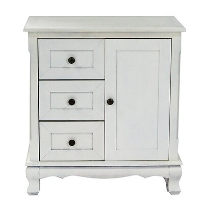 3 Drawer and 1 Door Accent Cabinet Finish: Ivory Wash