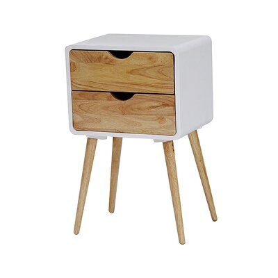 Euro 2 Drawers End Table Finish: White