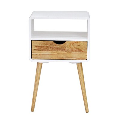 Euro 1 Drawer End Table Finish: White