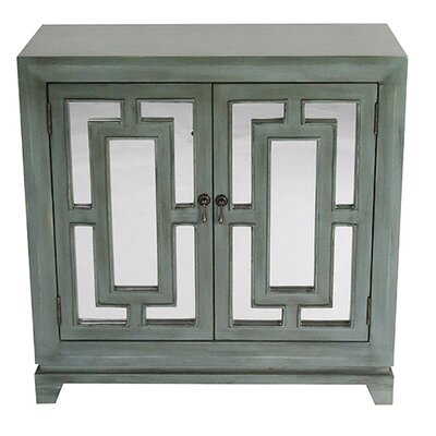 2 Door Wood Cabinet with Mirror Finish: Blue