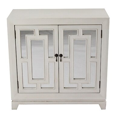 2 Door Wood Cabinet with Mirror Finish: Ivory