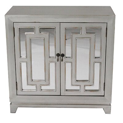 2 Door Wood Cabinet with Mirror Finish: Silver/Gold