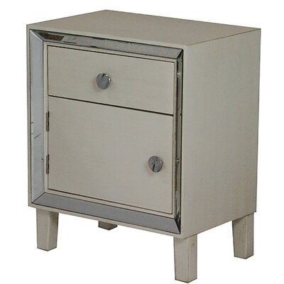 Bon Marche End Table With Storage Color: Antique White