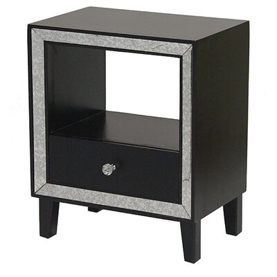 Bon Marche 1 Drawer Nightstand Color: Black