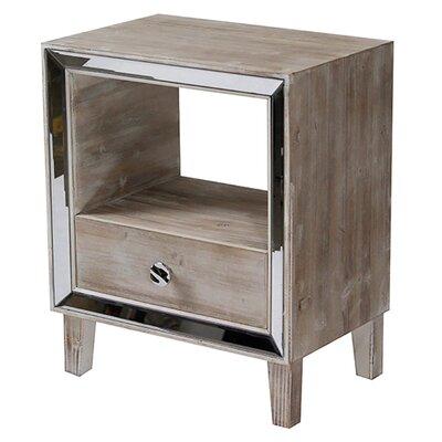 Bon Marche  End Table With Storage Color: White Wash