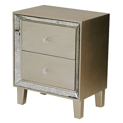 Bon Marche 2 Drawer Nightstand Color: Champagne