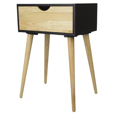 Euro 1 Drawer End Table Color: Black