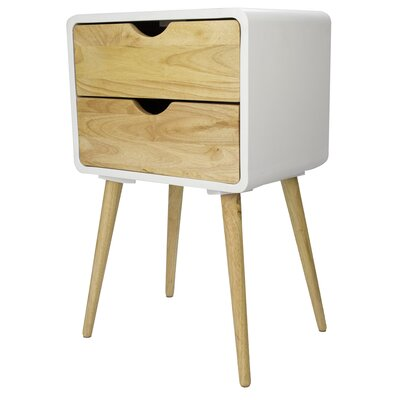 Euro 2 Drawers End Table Color: White