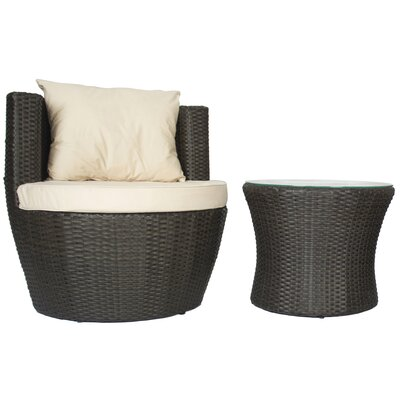 Albaugh 2 Piece Rattan Conversation Set with Cushions