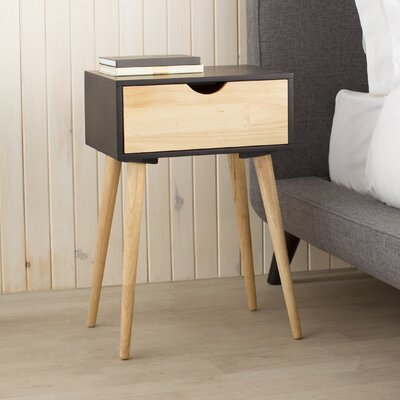 Euro 1 Drawer End Table Finish: Black