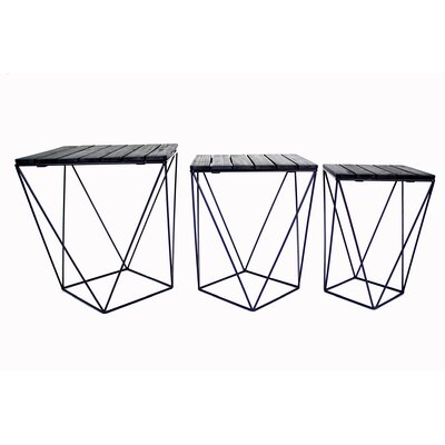 Oriana 3 Piece Nesting Tables Table Top Color: Black