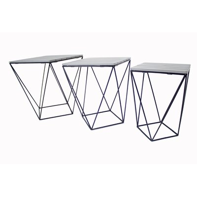 Oriana 3 Piece Nesting Tables Table Top Color: Gray