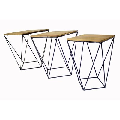 Oriana 3 Piece Nesting Tables Table Top Color: Natural Acacia