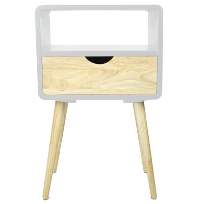 Euro 1 Drawer End Table Color: White