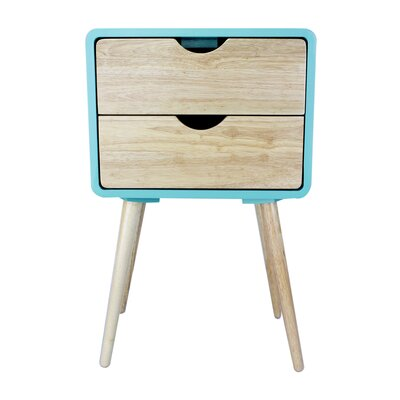 Euro 2 Drawers End Table Color: Aqua