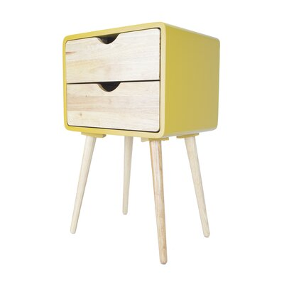 Euro 2 Drawers End Table Color: Yellow