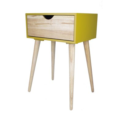 Euro 1 Drawer End Table Color: Yellow