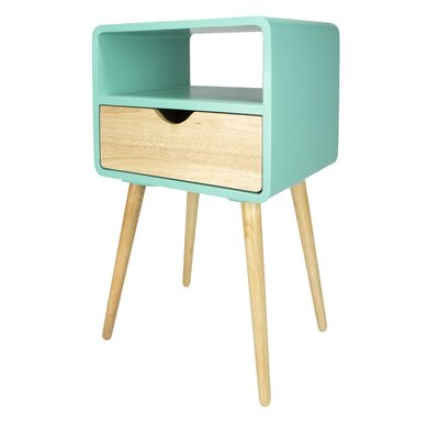 Euro 1 Drawer End Table Color: Aqua