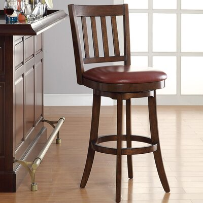 30 inch Swivel Bar Stool Upholstery: Crimson Red