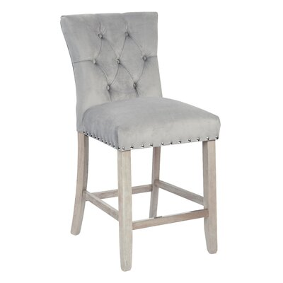 Preston 24 Bar Stool Upholstery: Velvet - Charcoal