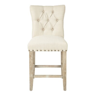 Preston 25.5 inch Bar Stool Upholstery: Twill - Burlap