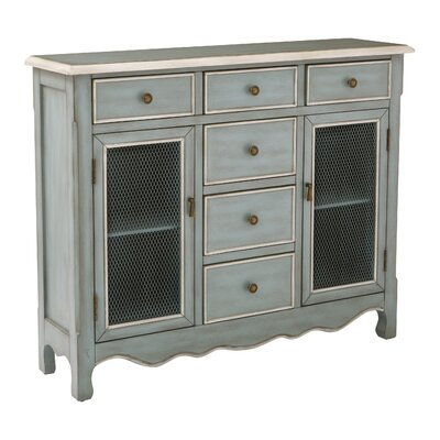 Patin Storage Console Table Finish: Antique Steel Blue