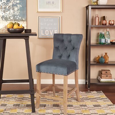Preston 24 Bar Stool Upholstery: Velvet - Atlantic Blue