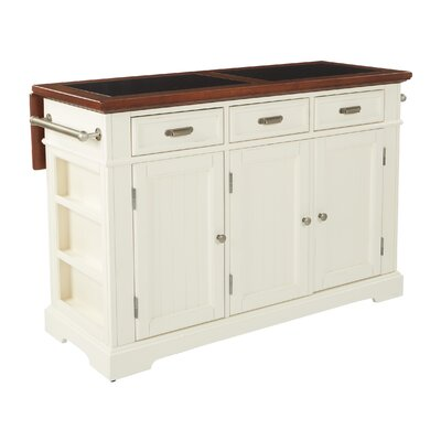 Cintron Large Kitchen Island with Granite Top Base Finish: Distressed White/Vintage Oak