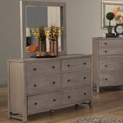 Burgundy 6 Drawer Dresser with Mirror