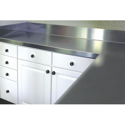 Stainless Steel Counter Top with Backsplash Size: 6.5 H x 36 W x 30 D
