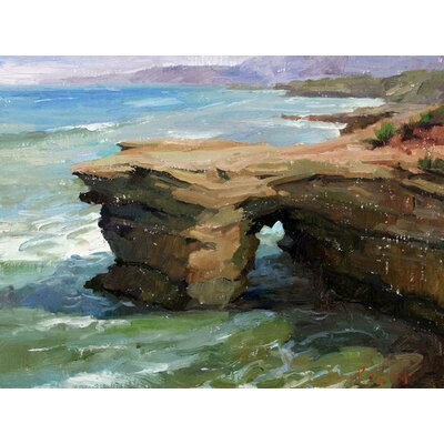'Sunset Cliffs at Day' by Stanislav Prokopenko Painting Print on Wrapped Canvas