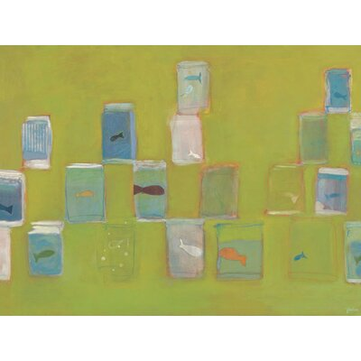 'Fish for Sale' by Jenny Kostecki-Shaw Painting Print on Wrapped Canvas in Green PE2452