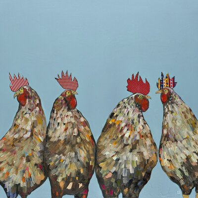 'Roosters' by Eli Halpin Graphic Art on Wrapped Canvas