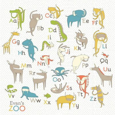 Evan's Zoo Alphabet Boy by Nicole LaRue Graphic Art on Wrapped Canvas Size: 21