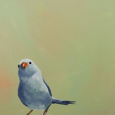 'Little Blue Bird' by Mincing Mockingbird Painting Print on Wrapped Canvas