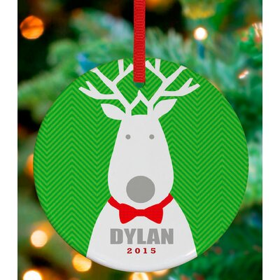 Bow Tie Reindeer Personalized Ornament by Vicky Barone Color: Green