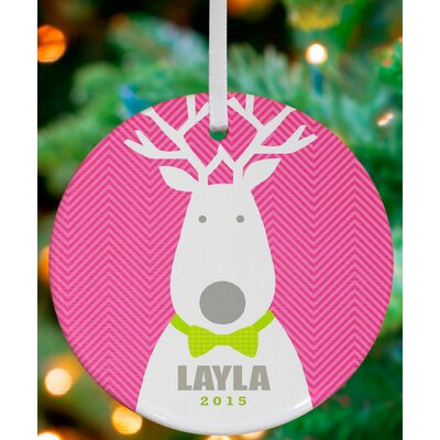 Bow Tie Reindeer Personalized Ornament by Vicky Barone Color: Pink