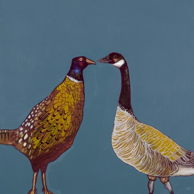'Pheasant & Goose' by Eli Halpin Painting Print on Canvas Size: 14 H x 14 W x 1.5 D