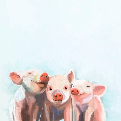 'Three Little Piggies' by Cathy Walters Painting Print on Canvas