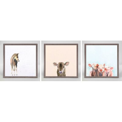 Sweet Animals by Cathy Walters 3 Piece Framed Painting Print on Canvas Set Animal Theme: Farm EX1892